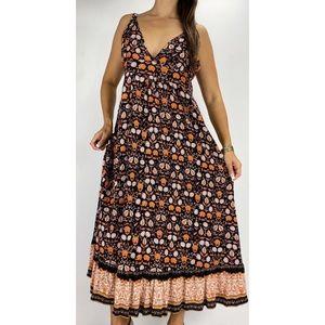 DOTTI Orange Black Floral Maxi Dress Plus Sz AU 16